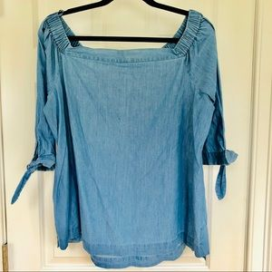 Loft Chambray off the shoulder blouse